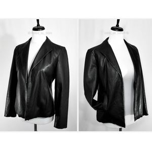 SAKS FIFTH AVE • Black Leather Open Front Blazer